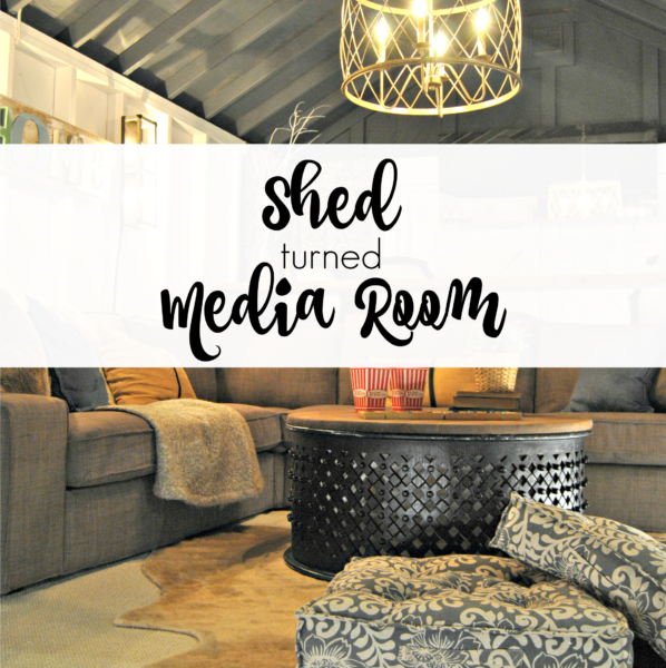 Farmhouse Media Room – A DIY Shed Makeover