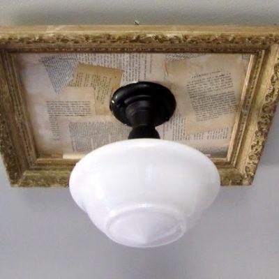 { Adding Vintage Paper to a framed light fixture }
