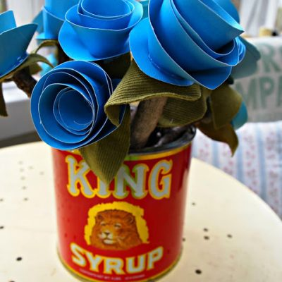 { Blue Paper Flowers in a Vintage Tin }
